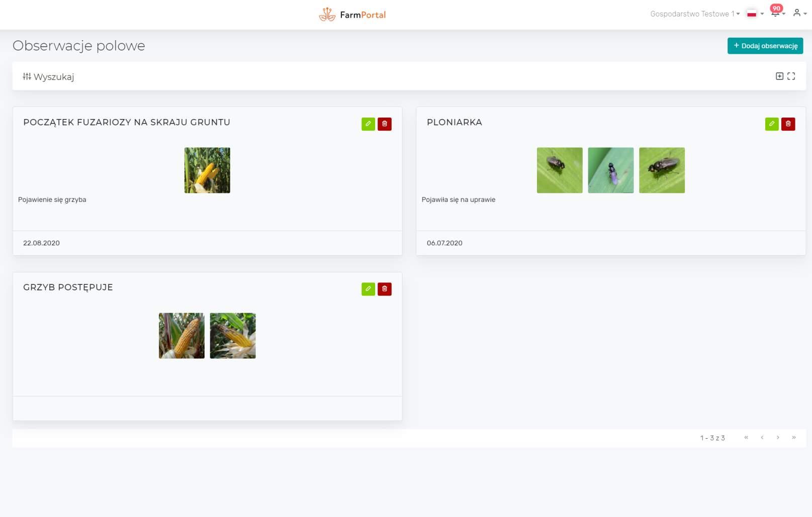 FarmPortal - Digital Crops - lista obserwacji polowych