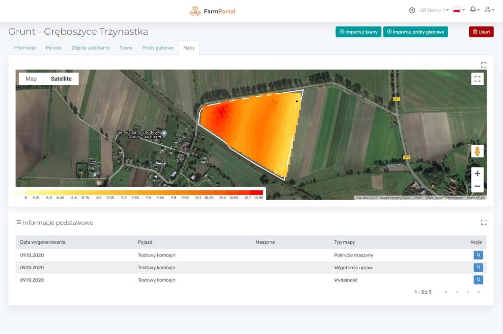 FarmPortal - Digital Crops - mapy plonów z wykorzystaniem sensora Tracky