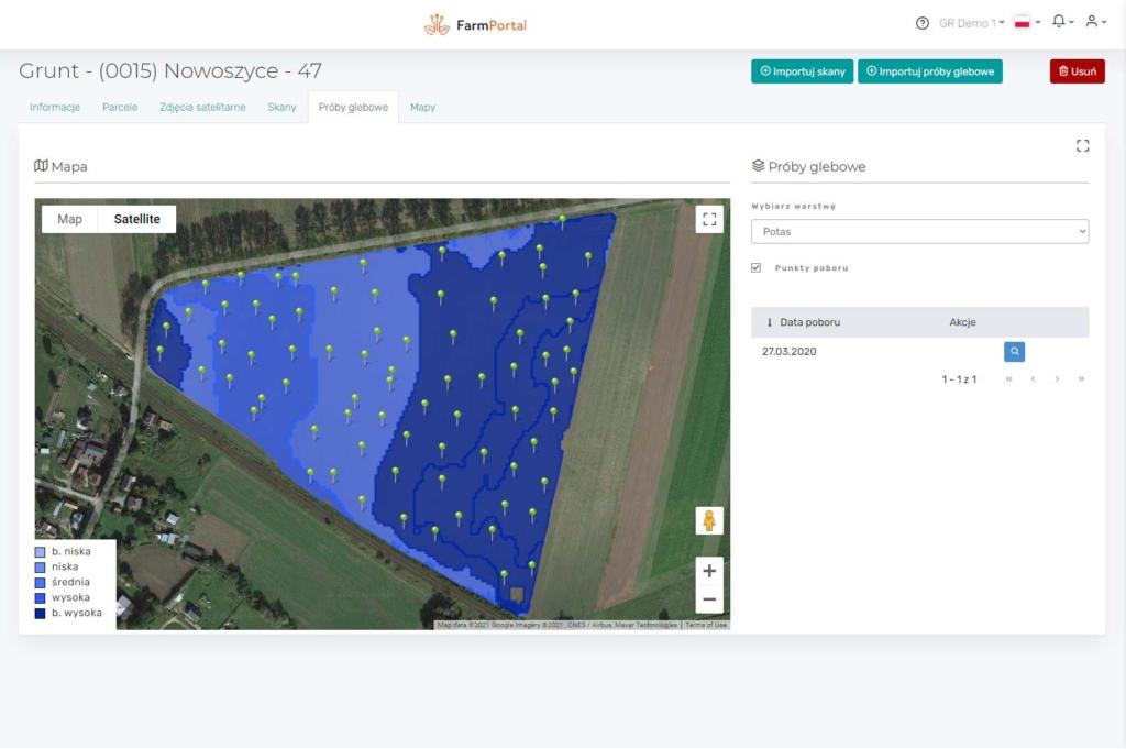 FarmPortal - analiza zasobności gleby przedstawiona w obrębie uprawy