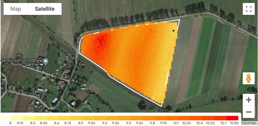 Generowanie mapy plonów z urządzenia Tracky